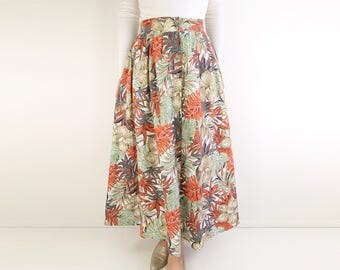 VINTAGE Palm Print Skirt Full Skirt Long