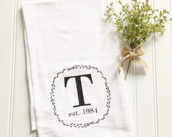 custom tea towel, monogrammed tea towel, personalized tea towel, wedding gift, gift for newlyweds, flour sack tea towel, kitchen decor