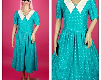 Vintage 1980s Teal and White Polka Dot Tea Dress