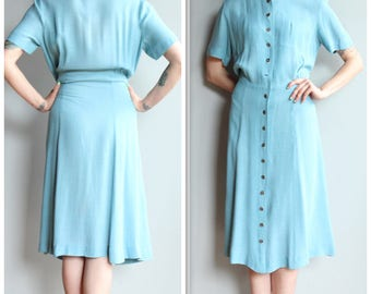 1940s Dress // Irma Hill Cotton Day Dress // vintage 40s dress