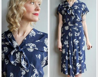 20% Off Sale // 1940s Dress // Silk Falling Floral Dress // vintage 40s dress