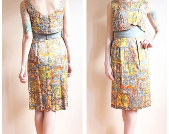 1950s Dress // Shooting Star Dress // vintage 50s sequin & silk dress
