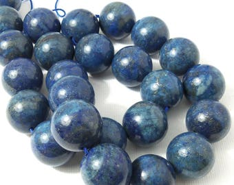 Lapis Lazuli Bead, 16mm, Round, Smooth, with Pyrite, Gemstone Beads, Large, Big, 16 Inch Strand - ID 2258