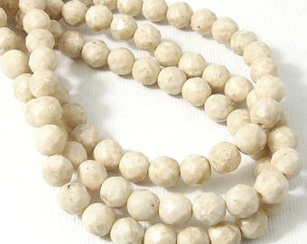 Riverstone Bead, 6mm, High Quality, Natural Fossil Stone Bead, Off-White, Tan, Round, Faceted, 15.5 Inch Strand - ID 2228