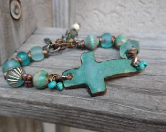 Rustic Beaded Bracelet  Sideways Cross Faith  turquoise beads for stacking or wear alone