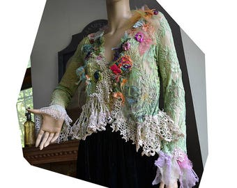 RESERVED Beautiful Unique Art To Wear Lacy Jacket Hippi SERGEANT PEPPER Boho Tribal Ethno Forest Gipsy tattered