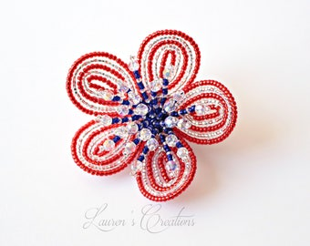 Fourth of July French Beaded Flower hair clip, red white and blue patriotic hair accessory, Lauren H Creations, seed bead floral, wire wrap