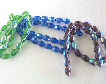 Beads Glass 16in Blue 16in Pur 16in Grn Glass Beads Jewelry Making Beads 15x10mm Necklace Making Beads Glass Necklace Beads Free Shipping