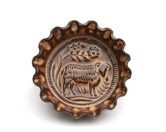 Rustic Folk Art Sheep Dish