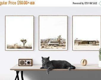 FLASH SALE til MIDNIGHT Set of 3  Desert Joshua Tree Modern Prints , Mid century modern wall art, Minimalist art, boho decor,