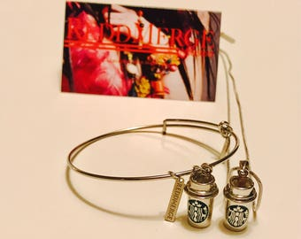 STARBUCKS COFFEE SET on chain hoop and clasp & matching bracelet set !