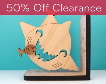 SALE! CLEARANCE 50% OFF! Shark Wooden Bookend: Kids Wooden Ocean Shark Fish Animal Bookend