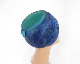 Blue feather hat, vintage 1960s teal aqua toque, Sonni