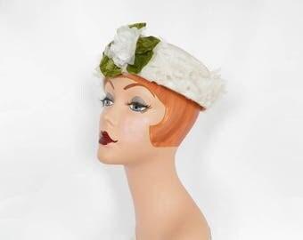 1960s white hat, vintage 60s flowered dress hat