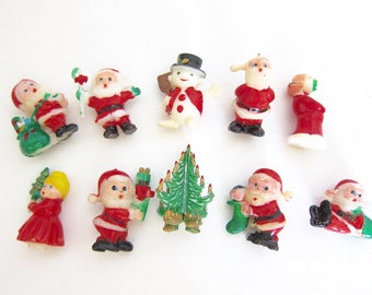 Christmas Miniatures Christmas Figures Santa Claus Mrs Claus Snowman Christmas Tree Set of Ten B192