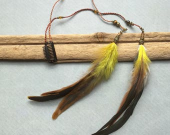 Tribal Macrame Hair Feather, Hair Jewellery, Dread Feather