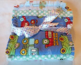 Baby Boy Rag Quilt Burp Cloth Set of 3 Boy Burp Towels Planes Trains Cars Trucks Bright Colors Blue Green Baby Burp Cloths Cotton Chenille