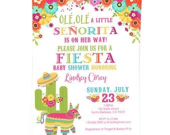 Fiesta Baby Shower Invitation  Little Señorita  Pinata  Fiesta Flowers  Mexican  Theme Baby
