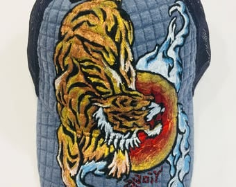Handpainted Tiger Mesh Embossed baseball cap with Adjustable Band at the Back