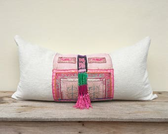 """Antique ethnic Hmong Embroidered Patch Organic Hemp Pillow Case 16"""" x 32""""  Bead Tassel embroidered ethnic ornaments One of a kind"""