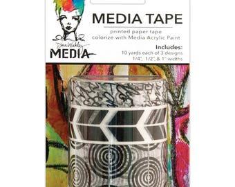 Printed Washi Paper Tape - Dina Wakley Media Tape - Black & White Designer Washi Tape