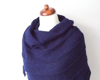 navy blue wrap, hand knitted blanket scarf, knit shawl with metallic yarn, shimmering dark blue shawl, glam scarf