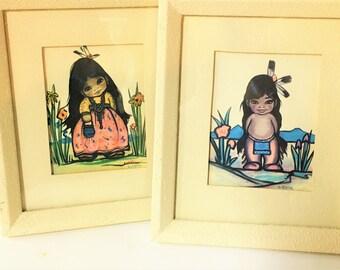 Christoffersen Framed Print Pair Native American Children Girl Boy Mid-century