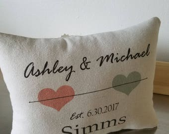 Date throw pillow bride and groom gifts wedding pillow  name date throw pillows bridal shower gift cotton personalized pillow newlywed gift
