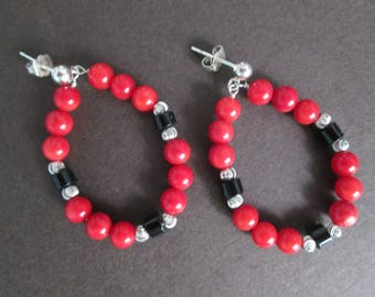 Red and black earrings- coral and black onyx on sterling silver posts