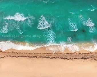Above the Beach - Original Photograph - Sandy Shore Ocean Beach Home Cottage Wall Decor Aerial View Drone