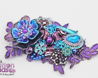 Bridal Hairpiece - purple peacock!