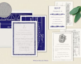 Engineer/Architect Blueprint Wedding Invitations - Silver Foil