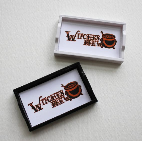 Miniature Witches Brew Decorative Serving Tray in 1:12 Scale for Dollhouse in White or Black
