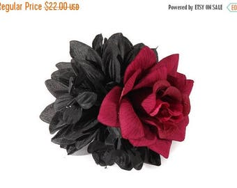 FLASH SALE Gothic Black Dahlia And Blood Red Veined Rose Pinup Hair Flower Fascinator Clip