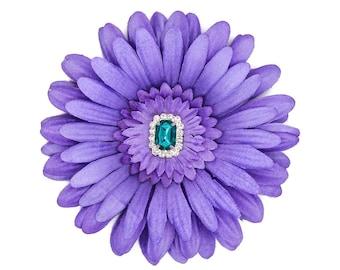 Purple Daisy Hair Flower with Teal Rhinestone