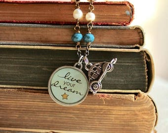 "25% OFF SALE Inspirational pendant necklace with car charm, ""Live Your Dream"" quote necklace, Choose Your Own Adventure"