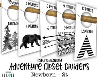 Adventure closet dividers Baby closet organization organizer - Bear Outdoor Woodland Black and white nursery Closet dividers Printable file