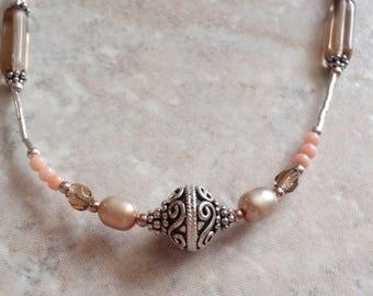Coral Citrine Necklace Bali Style Sterling Silver Vintage V0843