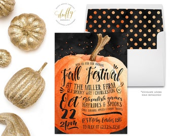 Fall Festival Invitation, Fall Festival Invite, Autumn Party Invitation, Pumpkin Invitation, Halloween Invite, Fall Party Invitation 5x7