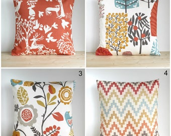 Folk Pillow Cover, Floral Pillow Cover, Cushion Cover, Cotton Pillow Sham, Modern Accent Pillows, 10x10 Pillow Cover - Spice folk collection