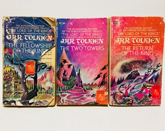 Vintage Fantasy Books Lord of the Rings by J.R.R. Tolkien 1966-1969 Paperback Trilogy