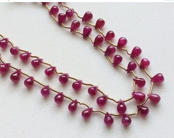 ON SALE 55% Ruby Beads, Ruby Plain Teardrop Beads, Ruby Jewelry, Genuine Ruby Necklace, 4x5.5mm, 7 Inch, 28 Pcs - PGPA140