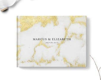 Marble guest book, Landscape or Portrait, Wedding guest book, Golden Marble gb0119