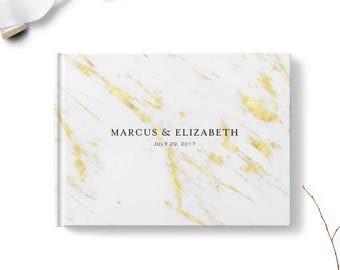 Reception sign in book, Landscape or Portrait, Wedding guest book, Golden Marble gb0120
