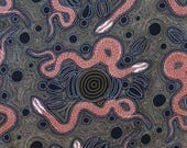ON SALE REMNANT--Charcoal and Rust Snakes and Emu Aboriginal Print Pure Cotton Fabric--2/3 Yard