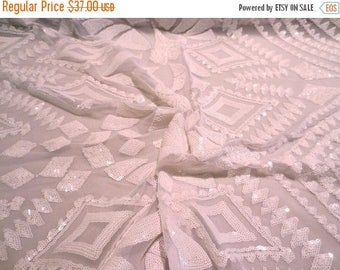 ON SALE White on White Fabulous Deco Design Stretch Sequin Embroidered Tulle Fabric--By the Yard