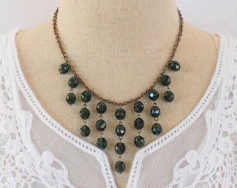 Emerald Green Necklace, Bib Statement Necklace, Art Deco Necklace, Drop Necklace, Beaded Necklace, Green Glass Necklace, Crystal Necklace
