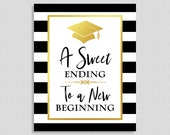 A Sweet Ending To A New Beginning Graduation Sign, Candy Sign, Black & White Striped Graduation Party Sign, 8x10 inch, INSTANT PRINTABLE