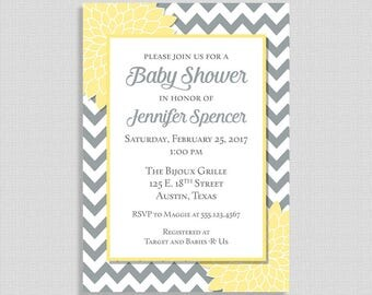 Yellow and Grey Baby Shower Invitation, Chevron Baby Shower Invite, Floral Mums, Gender Neutral, DIY PRINTABLE
