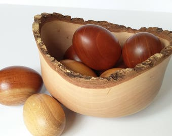 Wooden Eggs, Hardwood Turned Eggs,  Handcrafted Wooden Eggs